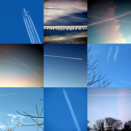 collage of contrails